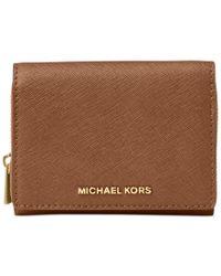 Michael Kors   Brown Michael Jet Set Travel Medum Zip Around Billfold Wallet   Lyst