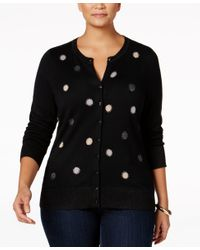 Charter Club - Black Plus Size Embellished Cardigan, Only At Macy's - Lyst