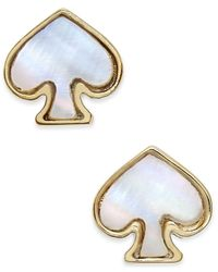 kate spade new york | Metallic Signature Spade Gold-tone Imitation Mother-of-pearl Earrings | Lyst