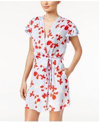 Oscar de la Renta   Multicolor Flutter-sleeve Printed Wrap Robe   Lyst