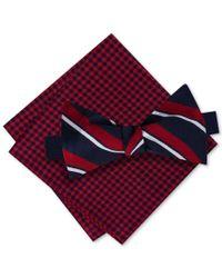 Tommy Hilfiger | Red Men's Candy Stripe Bow Tie & Gingham Pocket Square Set for Men | Lyst