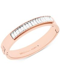 Michael Kors | Pink Baguette Crystal Hinged Bangle Bracelet | Lyst