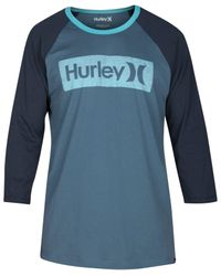 Hurley | Blue Men's One And Only Premium Graphic-print Logo Raglan-sleeve T-shirt for Men | Lyst