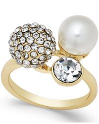 INC International Concepts | Metallic Crystal Pavé Imitation Pearl Gold-tone Triple Cluster Ring | Lyst