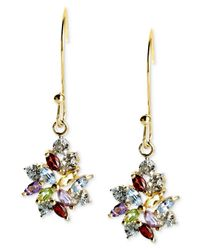 Macy's | Metallic 18k Gold Over Sterling Silver Earrings, Multistone And Diamond Accent Cluster Drop Earrings | Lyst