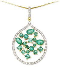Rare Featuring Gemfields | Green Certified Emerald (1-3/4 Ct. T.w.) And Diamond (1/3 Ct. T.w.) Scatter Pendant Necklace In 14k Gold | Lyst