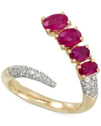 Rare Featuring Gemfields | Metallic Certified Ruby (1-5/8 Ct. T.w.) And Diamond (3/8 Ct. T.w.) Pavé Bypass Ring In 14k Gold | Lyst