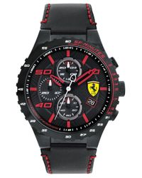 Ferrari | Men's Chronograph Speciale Evo Chrono Black Leather Strap Watch 45mm 0830363 for Men | Lyst