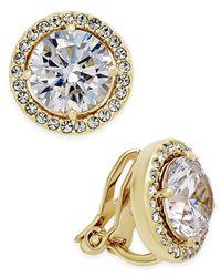 Danori   Metallic Gold-tone Bezel-set Crystal Clip-on Earrings   Lyst