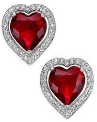 Danori   Metallic Silver-tone Red Crystal Heart Earrings   Lyst