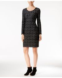 INC International Concepts | Black Faux-leather-trim Jacquard Sheath Dress, Only At Macy's | Lyst