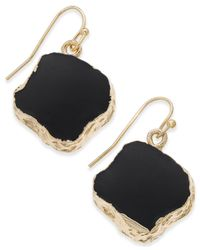 Macy's - Black Inspired Life Gold-tone Natural-shape Stone Drop Earrings - Lyst