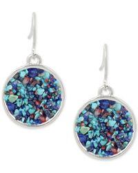 Kenneth Cole | Metallic Silver-tone Blue Stone Drop Earrings | Lyst