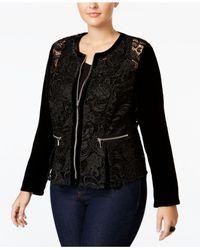 INC International Concepts | Black Plus Size Velvet-sleeve Lace Peplum Jacket | Lyst