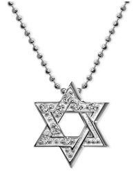 Alex Woo | Metallic Diamond Accent Star Of David Pendant Necklace In 14k White Gold | Lyst