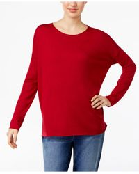 Eileen Fisher | Red Crew-neck Drop-shoulder Sweater | Lyst