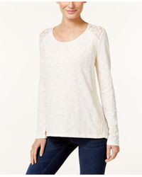 Style & Co. | White Petite Lace-trim Top | Lyst