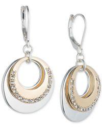 Nine West   Metallic Two-tone Pavé Circle Layered Drop Earrings   Lyst