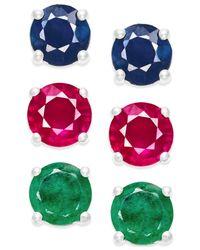 Macy's - Metallic Sapphire, Ruby And Diamond Stud Earring Set In Sterling Silver (3 Ct. T.w.) - Lyst