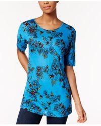 Kensie - Blue Short-sleeve Floral-print Top - Lyst