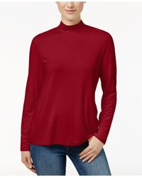 Charter Club | Red Mock-neck Long-sleeve Top | Lyst