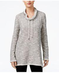 Style & Co.   Gray Funnel-neck Melange Sweatshirt   Lyst