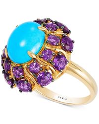 Le Vian | Multicolor Robin's Egg Turquoisetm (3-1/2 Ct. T.w.) And Grape Amethysttm (3-1/3 Ct. T.w.) Ring In 14k Gold | Lyst