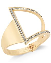 INC International Concepts   Metallic Rose Gold-tone Asymmetrical Crystal Cuff Bracelet   Lyst