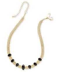 INC International Concepts Metallic Gold-tone Black Crystal Choker Necklace