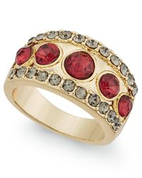 INC International Concepts | Metallic Gold-tone Pavé Red Stone Ring | Lyst