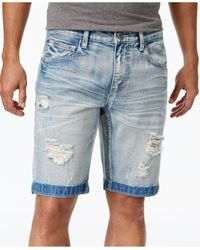 INC International Concepts | Blue Men's Ripped Light Wash Jean Shorts for Men | Lyst