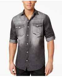 INC International Concepts | Black Men's Cassidy Faded Denim Shirt for Men | Lyst