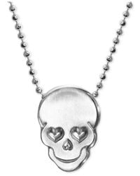 Alex Woo | Metallic Love Skull Beaded Pendant Necklace In Sterling Silver | Lyst