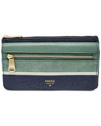 Fossil - Blue Preston Leather Flap Clutch Wallet - Lyst