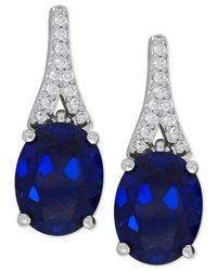 Macy's   Metallic Lab-created Sapphire (5-1/5 Ct. T.w.) And White Sapphire (1/8 Ct. T.w.) Drop Earrings In Sterling Silver   Lyst