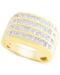 Macy's - Metallic Men's Diamond Multi-row Cluster Ring (1 Ct. T.w.) In 10k Gold for Men - Lyst