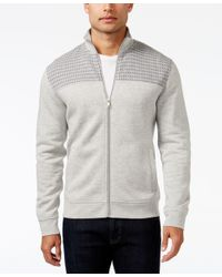 Alfani   Gray Men's Big And Tall Mock Collar Full-zip Sweater-jacket, Only At Macy's for Men   Lyst