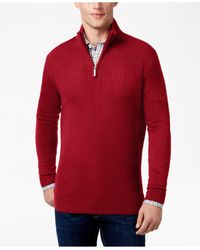 Geoffrey Beene | Red Men's Quarter-zip Drop Needle Sweater for Men | Lyst