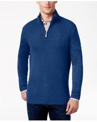 Geoffrey Beene Blue Men's Quarter-zip Drop Needle Sweater for men