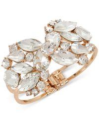 INC International Concepts | Metallic Rose Gold-tone Crystal Cluster Hinged Bangle Bracelet | Lyst
