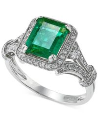 Effy Collection - Green Brasilica By Effy Emerald (1-3/8 Ct. T.w.) And Diamond (3/8 Ct. T.w.) Emerald-cut Ring In 14k White Gold - Lyst