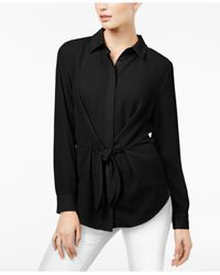 INC International Concepts Black Tie-front Shirt