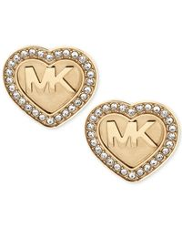 Michael Kors | Metallic Logo Heart Pavé Stud Earrings | Lyst