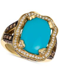 Le Vian - Blue Turquoise (6-3/4 Ct. T.w.) And Diamond (1-1/3 Ct. T.w.) Ring In 14k Gold - Lyst