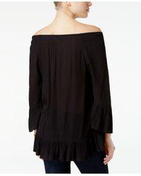 Style & Co. | Black Ruffle-hem Peasant Top | Lyst