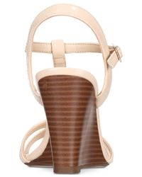 Callisto - Natural Upright Wedge Sandals - Lyst