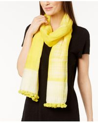 Eileen Fisher - Yellow Organic Cotton & Silk Pom-pom Scarf - Lyst