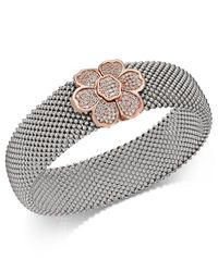 Macy's | Metallic Diamond Mesh Flower Bangle Bracelet (7/8 Ct. T.w.) In Sterling Silver And 14k Rose Gold-plate | Lyst