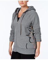 Calvin Klein - Gray Plus Size Metallic Logo Zip Hoodie - Lyst