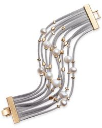 INC International Concepts | Gray Gold-tone Layered Mixed-media Bracelet | Lyst